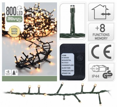 Foto Kerstverlichting 800 LED Extra Warm Wit met 8 Standen
