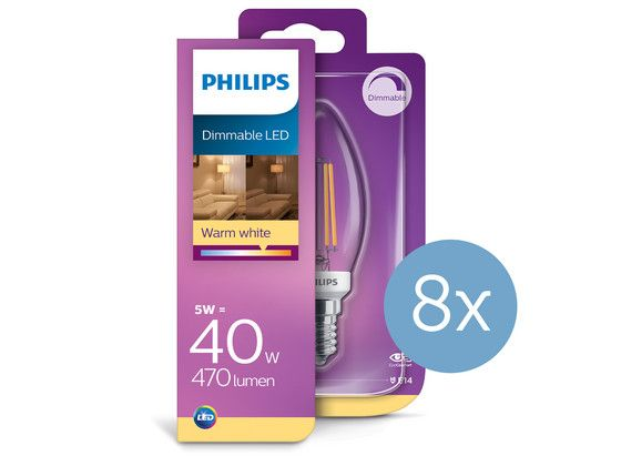 Foto 8x Philips Dimbare Led Classic