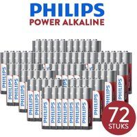 Foto 72 stuks Philips Power Alkaline AA of AAA batterijen; gaan 3x langer mee!