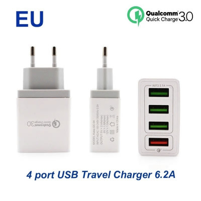 Foto 4 poorts USB Fast Charger, voor o.a. iPhone en Samsung