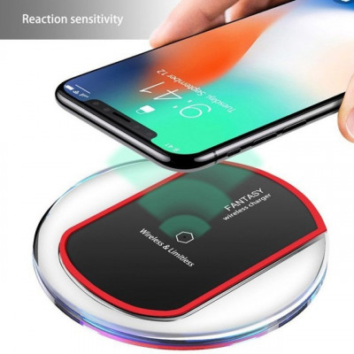 Foto Crystal Qi Wireless Charger voor je iPhone XR/XS, Samsung S10, S10+, S9, S9+