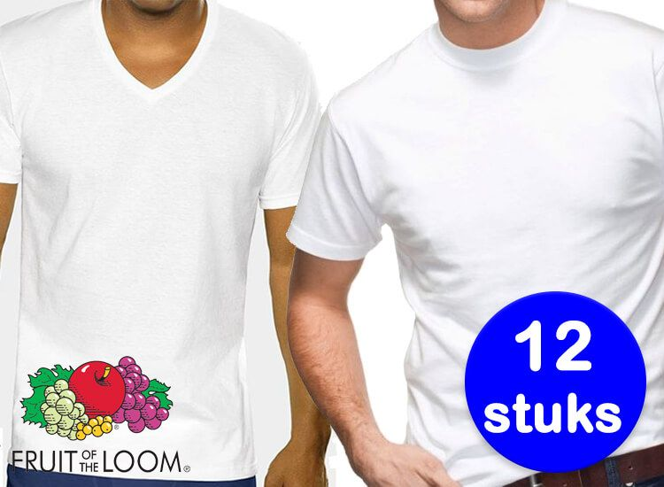 Foto 12 Witte Fruit of the Loom T-shirts