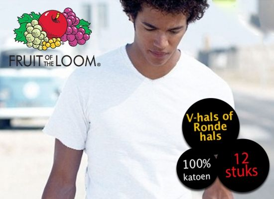 Foto 12 Witte Fruit of the Loom T-shirts V-hals of Ronde hals