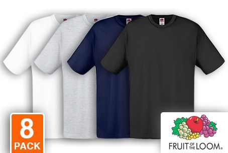 8-pack Fruit of the Loom T-shirts afbeelding