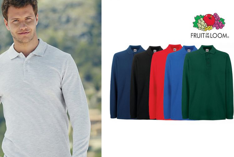 Fruit of the Loom Longsleeve Polo Shirts afbeelding
