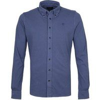 Foto Profuomo Overhemd Garment Dyed Button Down Blauw
