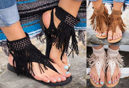 Foto Ibiza fringe slippers nu in de sale