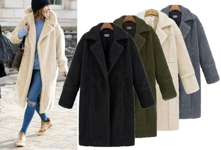 Foto Teddy jas - lange teddy coat - 47% korting