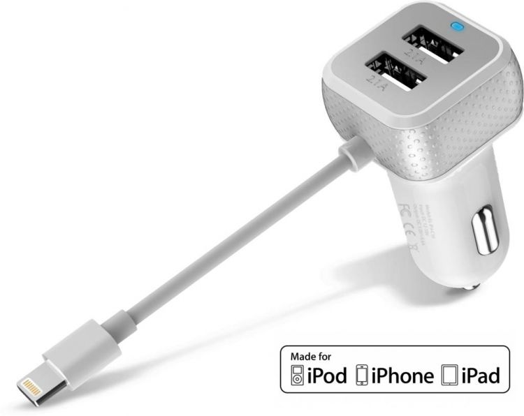 Foto iPhone Autolader iPad USB 6.6A Lightning MFI Wit
