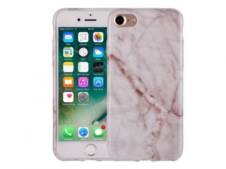 Foto Marmer iPhone 7 Hoesje Marble Wit Siliconen