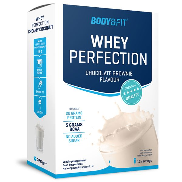 Foto Whey Perfection - 336 gram box - chocolate brownie milkshake.