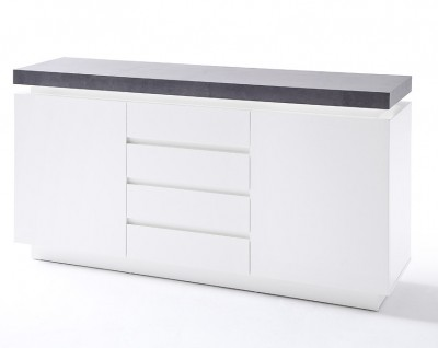 Foto 24Designs Dressoir Azure LED - L150 x B40 x H81 cm - Mat Wit