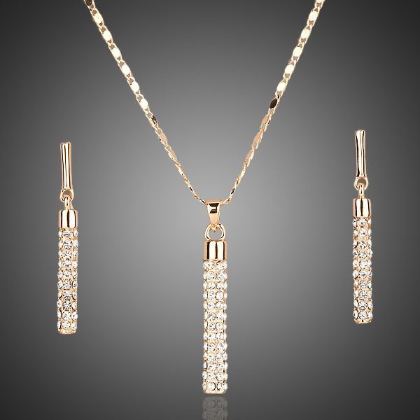 Foto Goud en Platinum plated set met Swarovski Elements