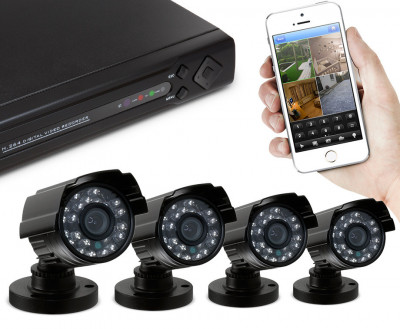 Foto CCTV Video Bewakingssysteem Met 4 Camera's en DVR Met Optionele...