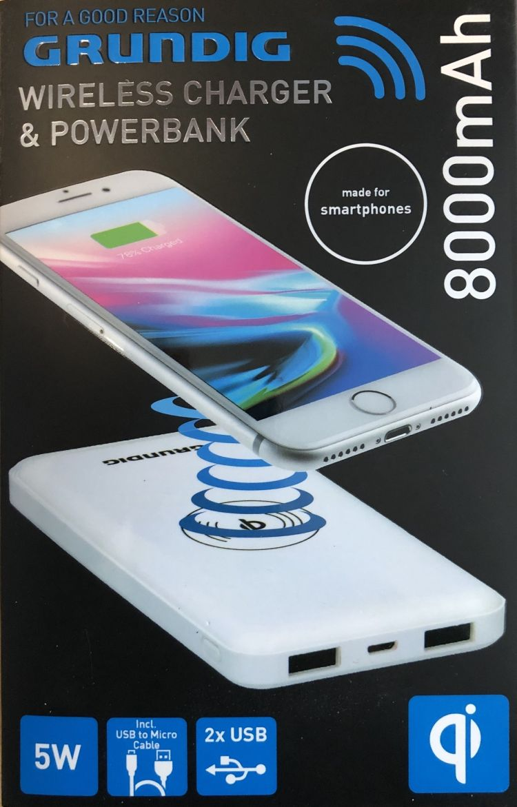 Foto Draadloze powerbank 2in1 - wit - 2 USB poorten - 8000 mAh