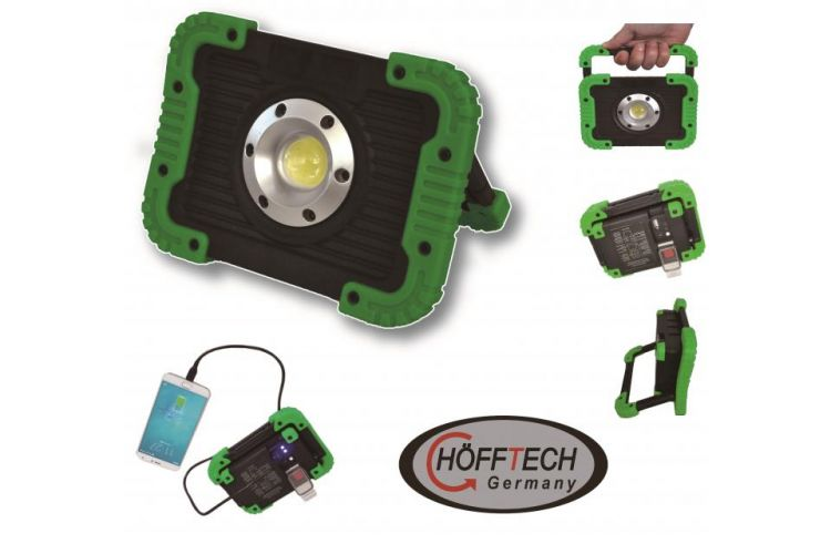 Foto Krachtige Led Floodlight Met Powerbankfunctie