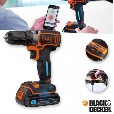 Foto 18V Black & Decker Boormachine BDCDC18KST-QW met Smart Tech Accu