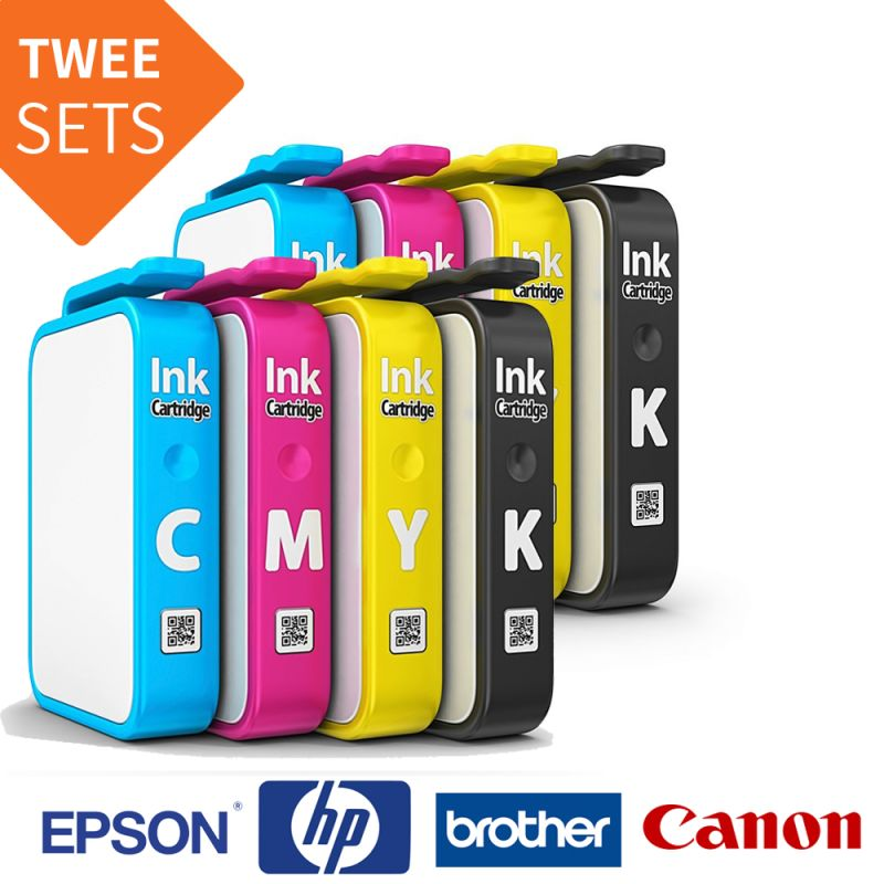Foto 2 Sets Inkt Cartridges Brother / Canon / Epson / HP Printers