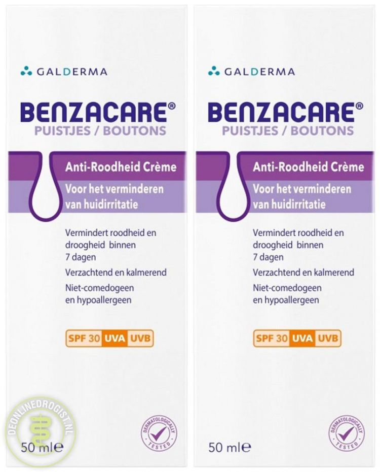 Foto Benzacare Anti Roodheid Crème SPF30 Duoverpakking
